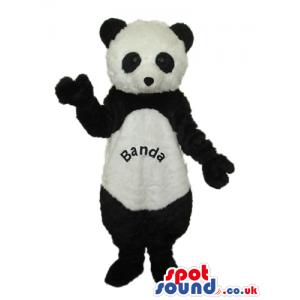 Cute Panda Bear Plush Mascot With Text On Its Belly - Custom