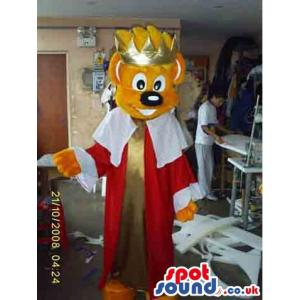 King teddy mascot with his red and white royal clothes - Custom