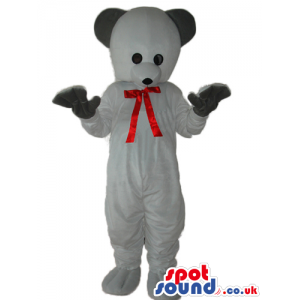 Cute White Teddy Bear Plush Mascot With Black Ears And Red