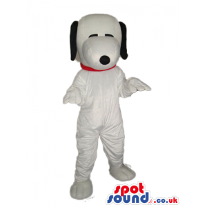 Snoopy Dog Animal Cartoon Character Mascot With Closed Eyes -