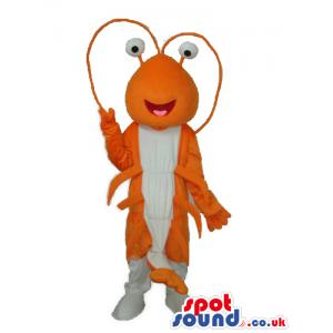 Orange And White Lobster Plush Mascot With Funny Eyes - Custom