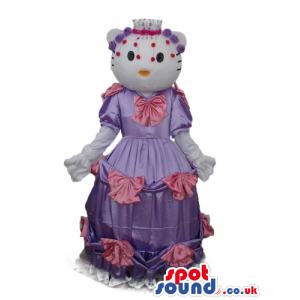 Kitty Cat Popular Cartoon Mascot With A Long Purple Pink Dress