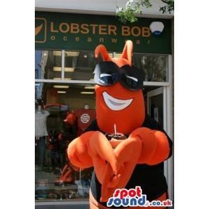 Superman crab mascot with orange and black colour - Custom