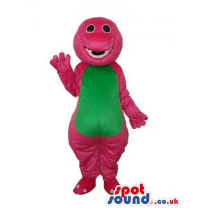 Pink Dinosaur Plush Mascot With A Green Belly And Missing Tooth
