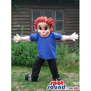 Boy mascot who is in blue shirt and black pant with black shoes