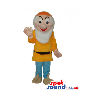 Snow White And The Seven Dwarfs Mascot In Orange Clothes -