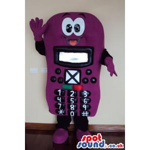 Purple cell phone mascot with cute smile and number key on it -