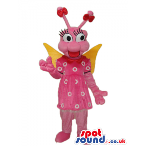 Pink Fairy Cartoon Plush Mascot With Yellow Wings And Dress -