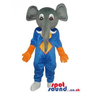 Grey Elephant Plush Mascot Wearing Blue And Orange Clothes -