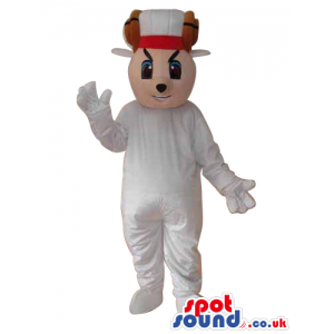 Fantasy Boy Plush Mascot With A Red Cap In White Clothes -