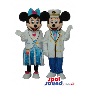 Mickey And Minnie Mouse Disney Couple Wearing Pilot Clothes -