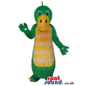 Cute Green Alligator Plush Mascot With Yellow Belly With