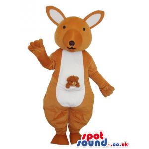 Beige And White Kangaroo Plush Animal Mascot With Baby - Custom