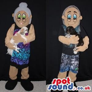 Grand mother and grandfather mascot with their pet - Custom