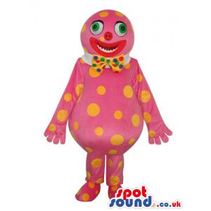 Pink Clown Creature Plush Mascot With Yellow Dots - Custom