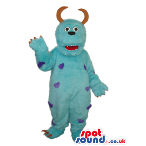 Blue Big Monster Plush Mascot With Purple Spots And Curled