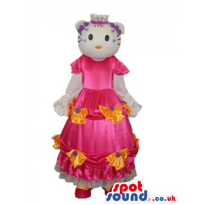 Kitty Cat Cartoon Mascot With A Long Pink Dress With Flowers -
