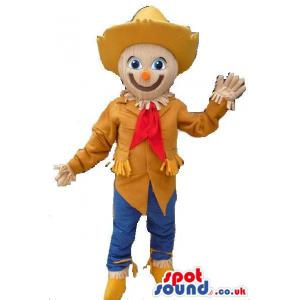 Cow boy mascot with cowboy cap and waving his hand - Custom