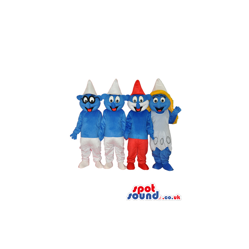 The Smurfs Blue Character Tv Cartoon Mascot Group Of Four -