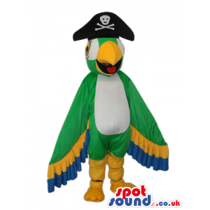 Bright And Flashy Green Parrot Plush Mascot With Pirate Hat -