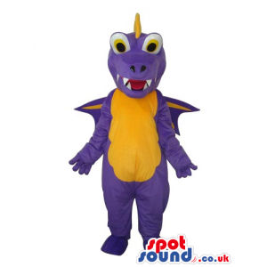 Purple Dragon Plush Mascot With Round Eyes And Yelllow Belly -