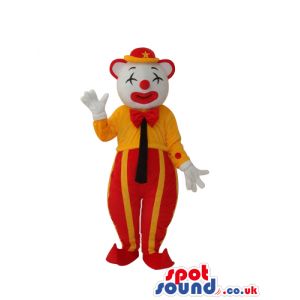 White Clown Mascot With Shut Eyes And Yellow And Red Clothes -