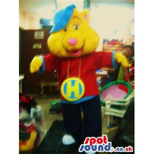 Chipmunks mascot with his wings open and happy as always -