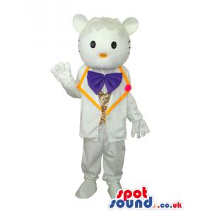 Kitty Boy Cat Cartoon Mascot With White Elegant Garments -
