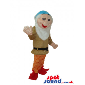 Snow White And The Seven Dwarfs Mascot In Brown Clothes -
