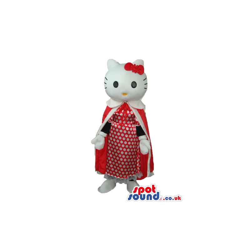 Kitty Cat Cartoon Mascot With A Long Red Gown And Dots Dress -