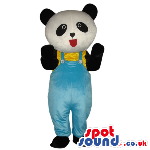 Cute Panda Bear Plush Mascot Wearing Blue Overalls - Custom