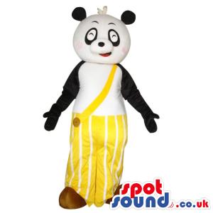 Cute Panda Bear Plush Mascot Wearing Yellow Long Pants - Custom