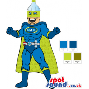 Drawing Of Green And Blue Super Hero Mascot With A Bottle -