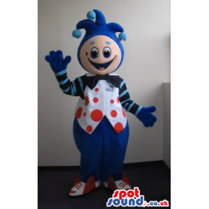 Fantasy Clown Plush Mascot Wearing Blue Garments With Red Dots