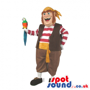 Great Human Pirate Mascot With A Green Parrot And A Striped