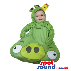 Cute Green Angry Birds Character Baby Child Size Costume -