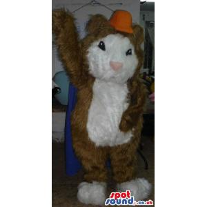 Squirrel mascot with brown and white colour fur and yellow cap
