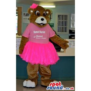 Brown teddy bear mascot welcoming you form his hands - Custom