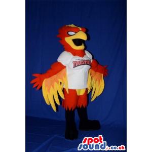Red And Yellow Firebird Plush Mascot Wearing A Sports Team