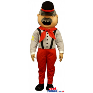 Old Man Mascot Wearing Red And White Garments And A Hat -