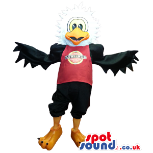 Black And White Eagle Plush Mascot Wearing A T-Shirt With Logo