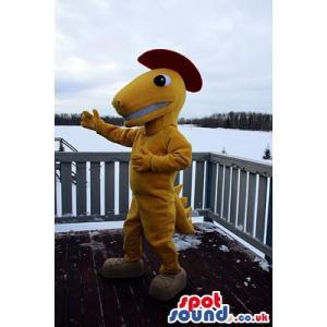 Yellow crocodile mascot dancing with a nice smile - Custom