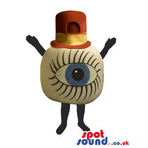 Amazing Huge Blue Human Eye Mascot Wearing A Red Hat. - Custom