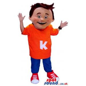 Boy mascot with a orange t-shirt and in blue pants with red