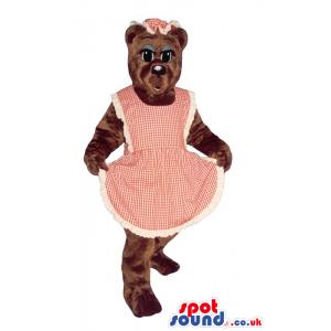 Brown Lady Bear Plush Mascot With Blue Eyelids Wearing An Apron