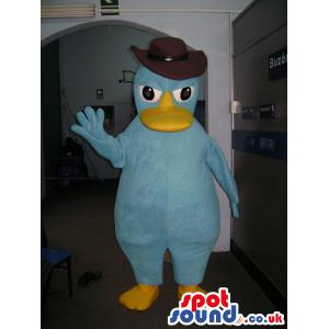 Blue Donald duck with a brown hat saying hi to you - Custom