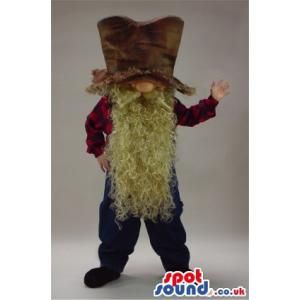 Old man mascot with long white beard falling from his face -