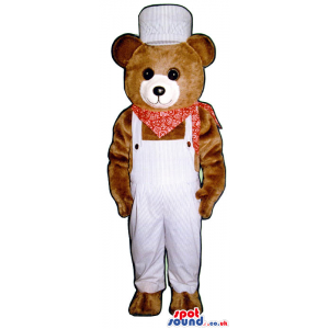 Brown Bear Plush Mascot Wearing White Overalls And A Neck Scarf