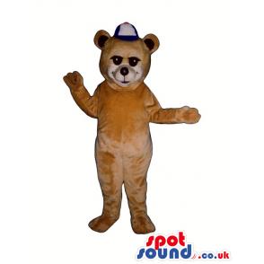 Light Brown Bear Plush Mascot Wearing A White And Blue Cap -