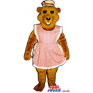A Brown Bear Plush Mascot Wearing A Pink Apron And A Hat. -
